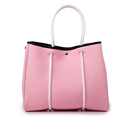 VANYLU Bolso Mujer Shopper Square de Neopreno. Bolso Tote Grande de Tela Impermeable para Uso Casual. Tote Bag Clásico Cuadrado. (Rosa)