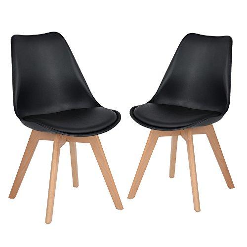 H.J WeDoo Lot de 2 chaises de Salle à Manger scandinaves, Chaises Rétro Bois de hêtre Massif - Noir