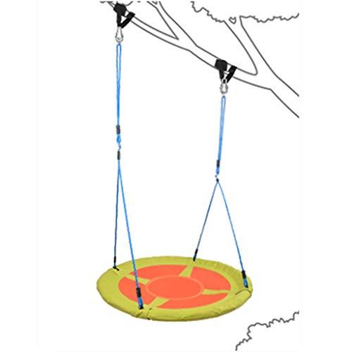 Columpio Redondo Árbol 100 cm de diámetro Sentido para niños Suspensión Red Cuerpo Cuerda Escalera Balancín Silla del platillo Volante Accesorios Cuervos Nido Araña Web Net Outdoor Asiento de jardín