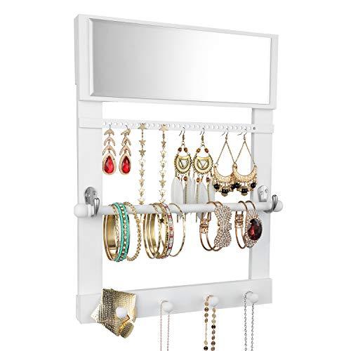 Vencipo Caja Joyeria de Pared con Espejo para Collar Organizador, Estantería de Pared de Madera con Varilla para Pulseras Almacenaje, Soportes de Joyero de Exhibición para Anillos, Pendientes.