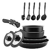 Abizoe 12 Piece Non-Stick Cookware Set Non-Stick Pans and Pots with Removable Handles, Space...