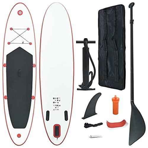 vidaXL Set de Tabla Inflable de Paddle Surf Sup Juegos Remos Hinchable Navegación de Olas Pequeñas Comodidad Estabilidad Rojo y Blanco
