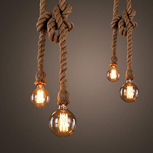 YAOXI hanglamp vintage rustieke henneptouw retro touwlamp touw lichten hanglamp E27 hanglamp, handgeweven plafondlamp kroonluchter