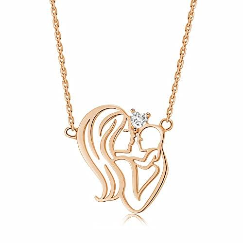 Qings Abrazar el Amor Que Ofrece Collar de Plata de Ley 925 Collar de Corazón de Amor de Oro Rosa