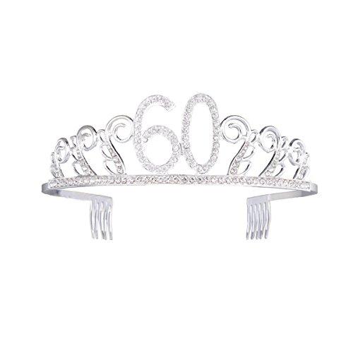 Diadème d'anniversaire en cristal pour 16/18/21/30/40/50/6/70 ans - Accessoire pour cheveux - Argenté