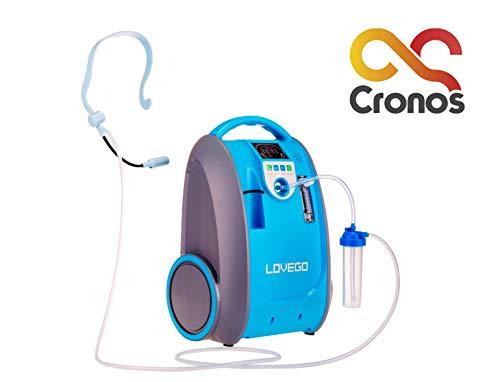 CRONOS Sauerstoffkonzentrator Lovego - 1 bis 5 Liter/Min - Sauerstoffkonzentration 40% - 93% - Deutscher Hersteller - Medizinisches Zertifikat - 220-240V, DC 12-17V, 50-60HZ, Lärm unter 40dB, tragbar