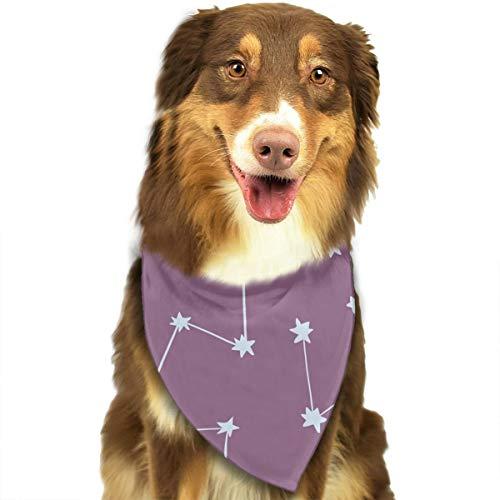 Starry Night Sky sterrenbeelden op paarse aangepaste hond kat hoofddoek set geschikt voor kleine tot grote hond katten