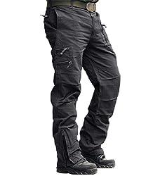 MAGCOMSEN Herren Carogo Hose Atmungskativ Wanderhose Combat Outdoor Hose Herbst Männer Trekkinghose mit Vielen Eingrifftaschen Radhose Arbeitshose Freizeithose für Angeln Reisen Grau 38