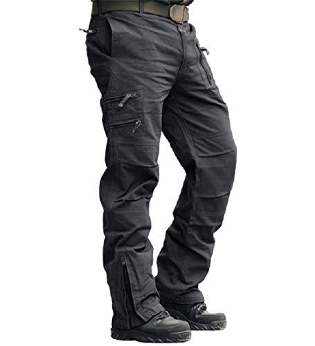 MAGCOMSEN Herren Hose Cargo Chino Wanderhose Combat Outdoor Hose Herbst Männer Trekkinghose mit Vielen Eingrifftaschen Radhose Arbeitshose Freizeithose für Angeln Reisen Grau 34