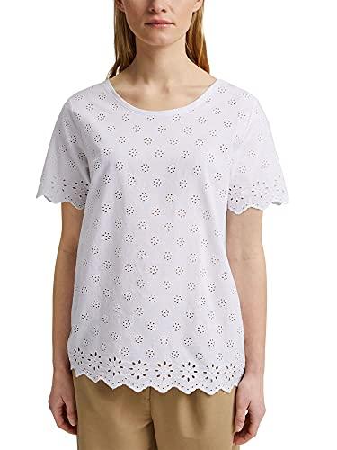 ESPRIT Mit Tencel™: T-Shirt mit Lochstickerei