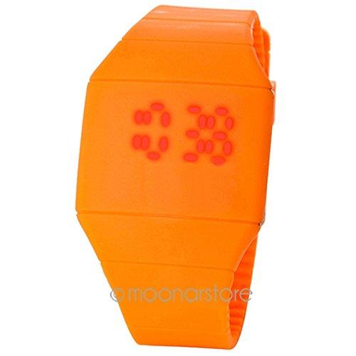 LED-Armbanduhr mit Touchscreen, Cool Red Digital-Display, modisch, ultradünn, Gummi-Armbanduhr für Kinder und Erwachsene Free Size Orange