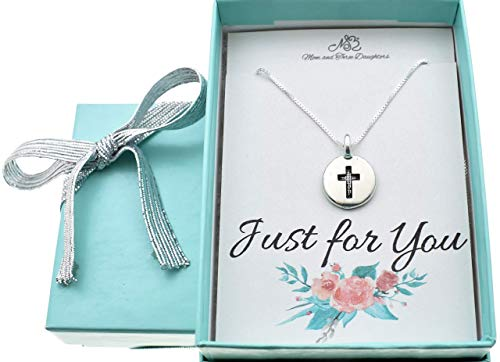 Cross Necklace in Silver Plated Pewter on a 16 Inch Sterling Silver Box Chain   Perfect Gift for Girls or Teens