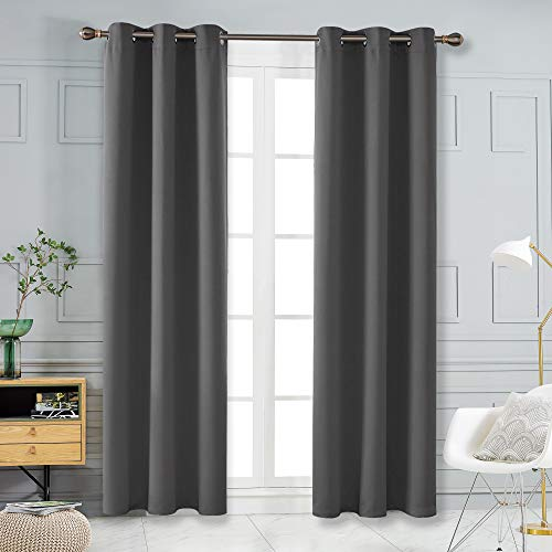 Deconovo Thermal Insulated Curtains for Living Room Grommet Solid Window Drapes Dark Grey 2 Panels 42x108 Inch