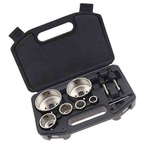 EMSea Kit de Scie-Cloche à Revêtement en Diamant pour Carreaux de Céramique avec Boîte de Rangement en Alliage 6 Trous 22 à 73mm Portable Durable Coupe de Béton