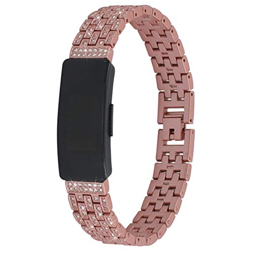 MVRYCE Ace 2 Watchband, Stainless Steel Metal Replacement Wristband with Bling Rhinestones Adjustable Jewelry Bracelet Compatible for Inspire/Inspire HR/Ace 2 Smart Watch for Women (Rose Gold)