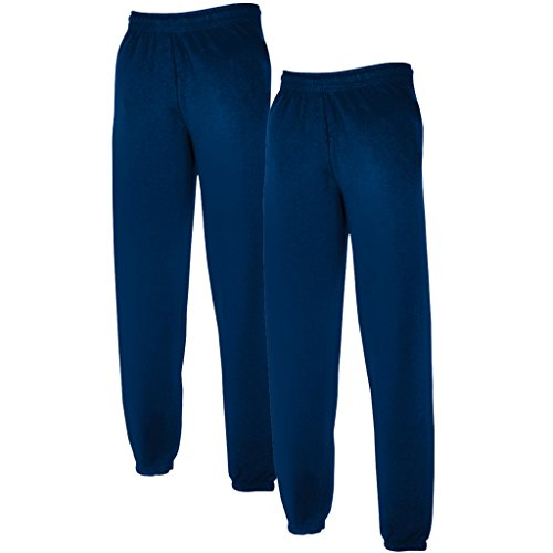 Fruit of the Loom 2 x joggingbroek elastische manchetten marineblauw XL