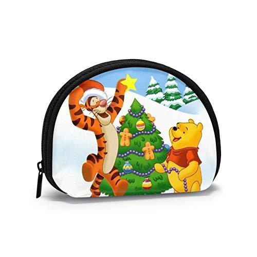 Winnie The Pooh y Tigger decoran el árbol de Navidad Monedero para Hombres Mini Tipo de Carcasa Almacenamiento de Llaves Cremallera de Color