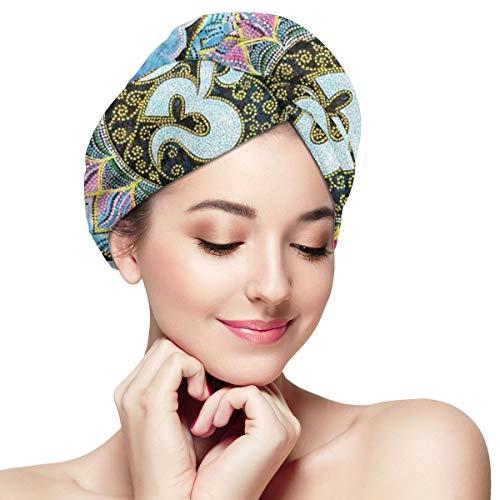 Indian Om Mandala Blue Starry Night Microfiber Dry Hair Cap for Bath Spa Soft Super Absorbent Quick Drying Towel Wrap Wet Hair Turbans 11¡± X 28¡±