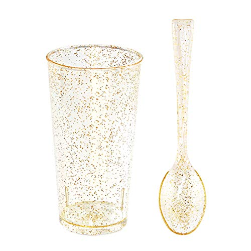 Small Plastic Dessert Cups with Mini Spoons Gold Glitter, Includes 100 Pieces Disposable Round Shooter Glasses 3 Oz and 100 Pieces Gold Mini Spoons