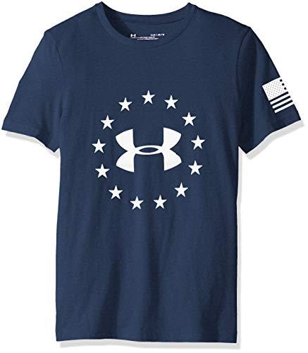 Under Armour Boys' Freedom Logo T-Shirt, Academy (408)/White, Youth Large