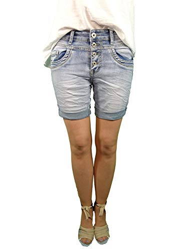 Jewelly by Lexxury | Dames denim shorts | Korte jeans broek | met decoratieve knooplijst en toeslag | Bermuda voor vrouwen | Perfecte pasvorm met stretch