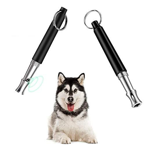 DETENO Hundepfeife [2 Stücke], Tragbare Professionelle Ultraschall Pfeife Trainingpfeife Einstellbares Pitch,Ideal für die Hundetraining,Grundbefehl und Aufhören zu bellen Professionelle Hundepfeife