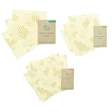 Bee's Wrap Sustainable Food Storage Large Assorted Pack of 9 Reusable Food Wraps