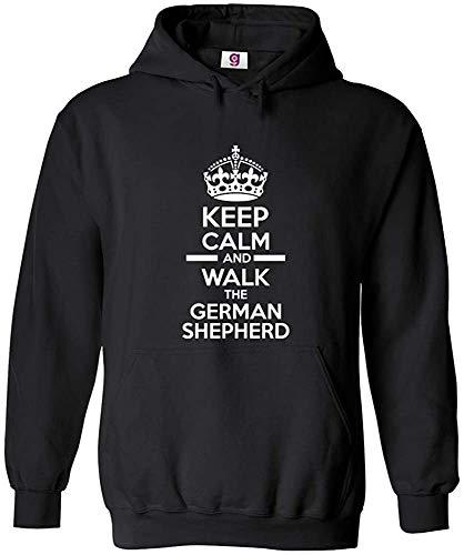 JXZO Maglione da Uomo Funny Keep Calm And Walk The German Shepherd Dog Novelty Hoodie