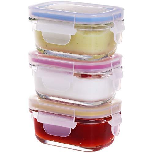 GENICOOK Babybrei Beikost Vorratsdosen Aufbewahrung aus Glas- BPA-frei & FDA & LFGB Zugelassen- Baby Set Typ (Rechteckige 3x120 mL)