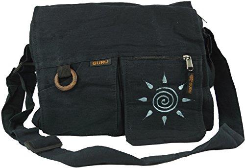 Guru-Shop Schultertasche, Hippie Tasche Sonne - Schwarz, Herren/Damen, Baumwolle, Size:One Size, 30x35x7 cm, Alternative Umhängetasche, Handtasche aus Stoff