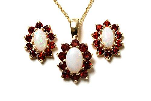 Halskette und Ohrringe, 9 Karat Gold, Granat und Opal, oval, Cluster