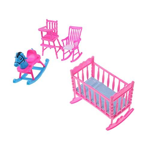 4 Pezzi Cavallo Sedia Letto a Dondolo Sedia da Pranzo Furniture Accessori per Dollhouse