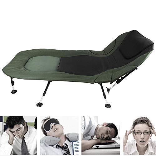 Silla de camping, silla de pesca, estructura de acero, silla tumbona reclinable, tumbona plegable portátil, compacta y ligera, silla para camping, BBQ, pesca, playa, 219 x 104 cm