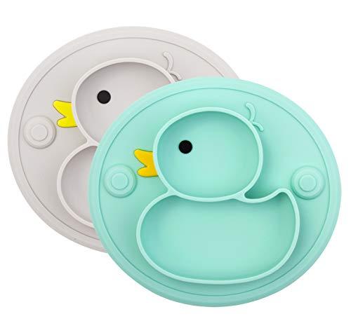 Baby Teller Rutschfeste Saugfütterungsplatte für Kleinkinder Babys Kinder Tischset mit Saugnäpfen BPA-frei, FDA-geprüft, Spülmaschinen-und mikrowellengeeignet (Cyan/Grau Ente)