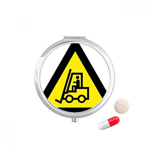 DIYthinker Waarschuwing Symbool Geel Zwart Heftruck Driehoek Reizen Pocket Pill case Medicine Drug Storage Box Dispenser Mirror Gift