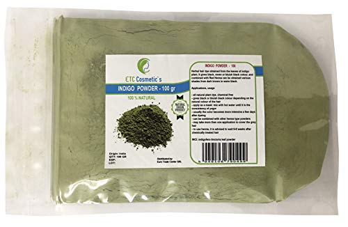 Indigo Powder - 100 gr - Teinture pour les cheveux à base de plantes obtenue à partir des feuilles de plante indigo. Il donne une couleur noire, corbeau ou noir bleuâtre.