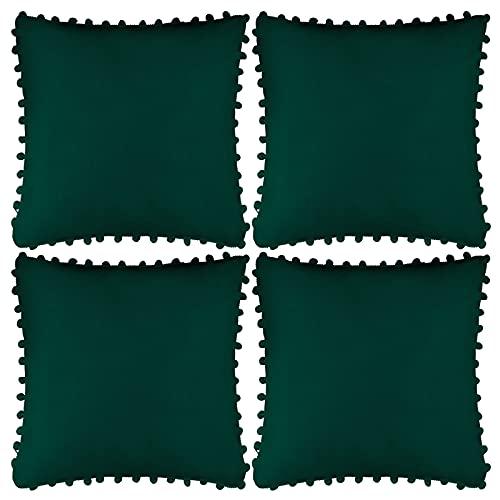 Aneco 4 Stück Samt-Kissenbezüge, dekorative Kissenbezüge, quadratisch, für Zuhause, dunkelgrün, 45,7 x 45,7 cm