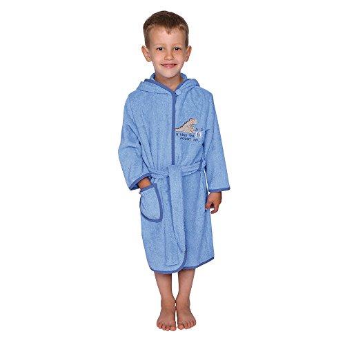 Wörner Südfrottier Dino lichtblauw badjas voor kleine kinderen pyjama