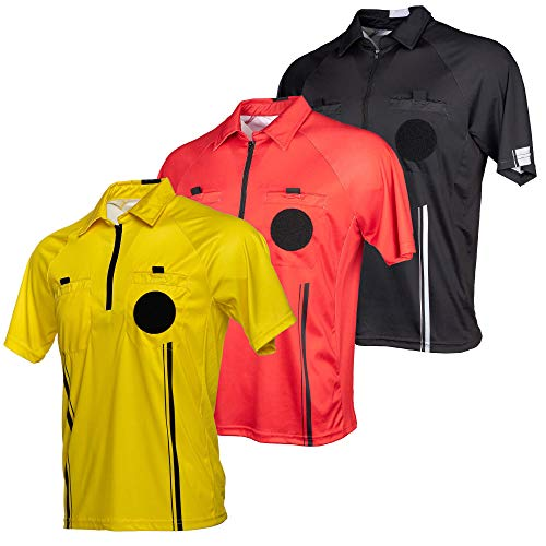 Murray Sporting Goods USSF Pro-Style Soccer Referee Jersey - Short Sleeve | Officials Short Sleeve Soccer Referee Shirt (Yellow, Medium)