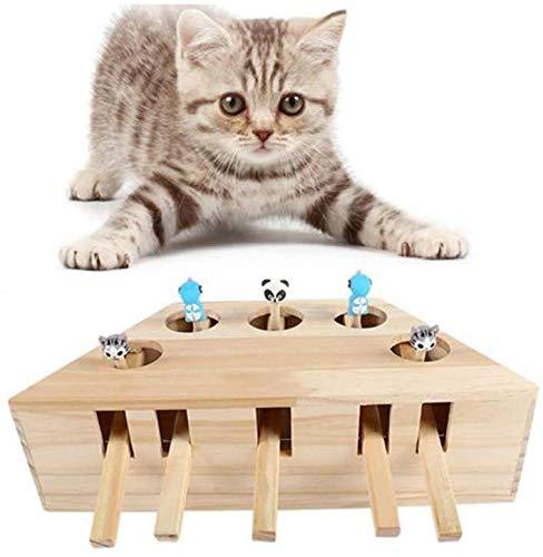 KJSMA Interactieve Kat Teaser Speelgoed, Kat Oefening Speelgoed Whack een Mol Muis Puzzel Doos met Verschillende Leuke Cartoon Speelgoed 5 Gaten