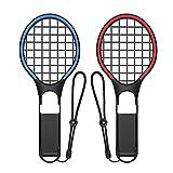 AiMok [2 Piezas] Raqueta de Tenis para Nintendo Switch Mario Tennis Aces Juegos, Nintendo Switch Joy-Con Controladores Accesorios - Azul & Rojo