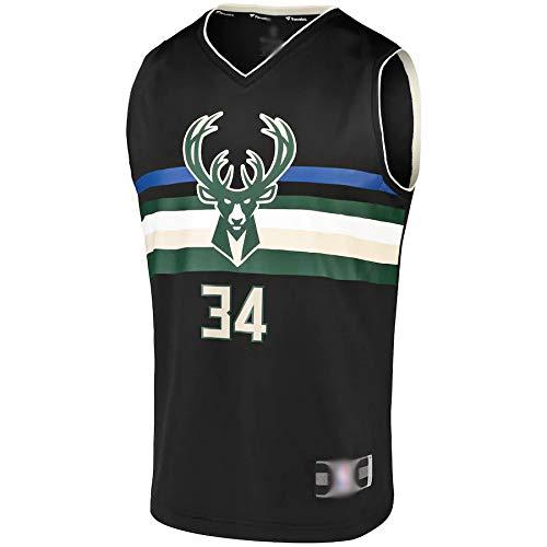 Al aire libre camiseta de baloncesto NO.34 Réplica del Equipo de Réplica Jersey de Secado Rápido Ropa Deportiva Para los Hombres Declaración Edición Negro