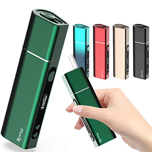 Pluscig S9 加熱式タバコ 互換機 電子タバコ 50 本連続吸引 3500mAh大容量 電子たば スターターキット温度調整 時間調整 5秒予熱 加熱清潔 清掃簡単 ディスプレイ付き 三ヶ月保障あり (グリーン)