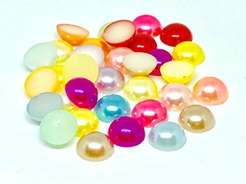 L'attrape-rêve Cabochons r& mehrfarbig mit Perlmutt-Reflexen aus Acryl, 1 Set mit 50 Stück Durchmesser 12 mm