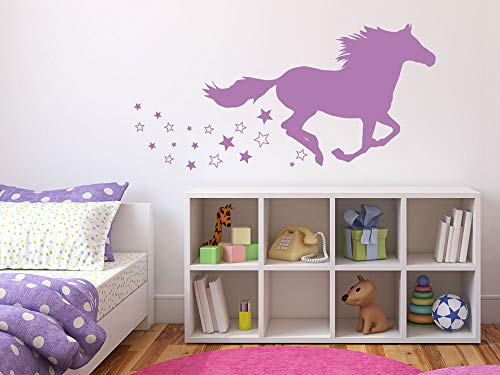 GRAZDesign Wandtattoo Pferd galoppieren, Aufkleber für Mädchenzimmer Kinderzimmer, Geschenk zum Geburtstag / 82x40cm / 041 pink