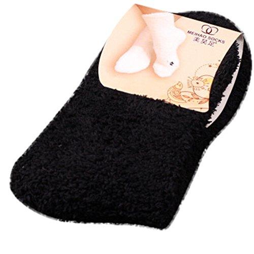 Cheapest Prices! BONJIU Women Warm Soft Plush Slipper Sock Winter Fluffy Microfiber Crew Socks Casua...