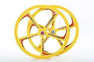 NO BRAND 2 rodamientos de Ruedas Libres 7/8/9/10 5 Agujeros Ruedas for Bicicletas 21/24/27/30 Velocidad 24er Montaña 3 Ruedas (Color : Yellow hubs typs 1)