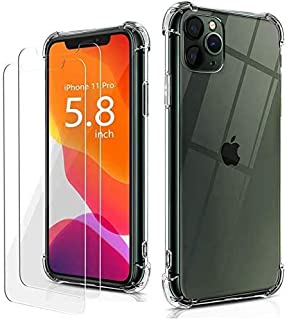 TPU iPhone 11 Case Silicone Bumper 4 Corners Shockproof Protection with Free Tempered Glass Screen Protector Crystal Clear