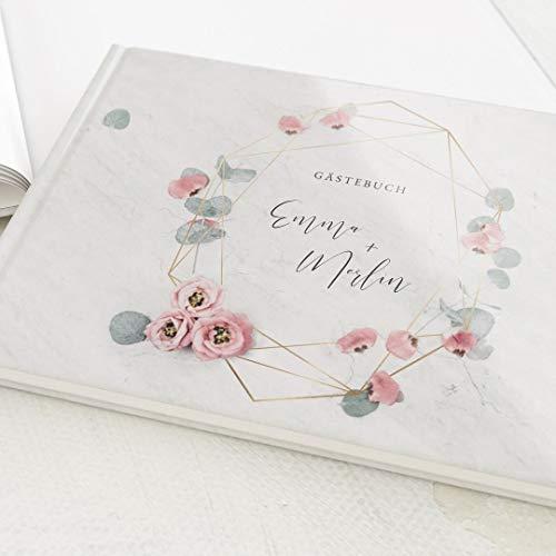 sendmoments Foto Gästebuch Hochzeit Floral Wedding, personalisiert mit Wunschtext, hochwertiges Hardcover-Buch, Querformat, mit 32 leeren Seiten oder mehr