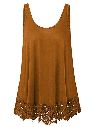 Plus Size Swing Lace Flowy Tank Top Dress Shirt for Women (Amber Brown, 1X)